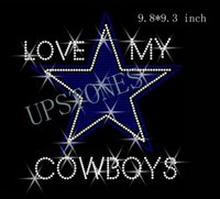 "Wholesale Hotfix Rhinestones China - Free shipping New Design hotfix rhinestones motif heat transfer ""Love My Dallas Cowboys"" hotfix iron on design made in china for clothing"