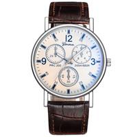 Wholesale Mm Parties - Fashion mens men leather watch geneva new wholesale 2017 business male party quartz wristwatch 3 circles decoration watches