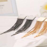 Wholesale Bar Drop Earrings - Silver Gold Color Long Tassel Dangle Earrings For Women Bar Wedding Drop Earing Fashion Jewelry Gifts MD