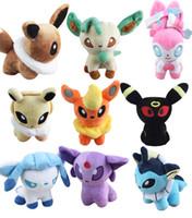 Wholesale Mew Poke - Poke plush toys 8 styles Mew Umbreon Eevee Espeon Jolteon Vaporeon Flareon Glaceon Leafeon sylveon Animals Soft Stuffed Dolls toy