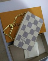 Wholesale Coin Pouches - 2018 KEY POUCH Damier canvas holds high quality famous classical designer women key holder coin purse small leer