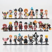 27pcs / set One Piece Figurines d'action Monkey D Luffy Roronoa Zoro Nami Usopp Sanji Tony Chopper Nico Franky Brook OP Jouets complets