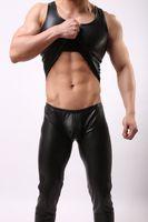 Wholesale Men S Vest Pants - 2017 2016 New O-neck PU Leather Tank Tops Men Sexy Sleeveless Shirts Man Imitatiion Faux Leather Vest or Pants