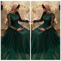 bata de gasa larga al por mayor-2016 Scoop mangas largas verde esmeralda musulmán vestidos de noche apliques de encaje de gasa vestido de fiesta vestido de soiree longue modesto