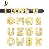 bracelets gold slide letters al por mayor-8 MM Completo Rhinestone Gold Slide Letters