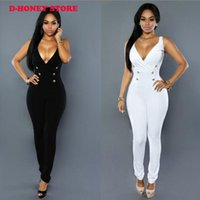 Wholesale Clubwear Black Romper - 2017 New Women Clubwear deep V-neck Jumpsuits Party Slim Fit button Playsuits Romper Trousers for women