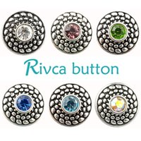 Rivca Snaps Button Jóias Hot wholesale Estilo de mistura de alta qualidade 18mm Metal Ginger Snap Button Charm Rhinestone Styles NOOSA pedaço D02034