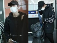 Wholesale Exo Pullover - Kpop EXO chanyeol airport with black zip pocket loose Hoodie sweater with letters