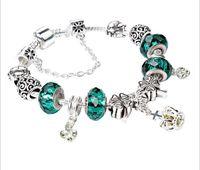 Wholesale beads colour - 2 Colours Pandora Style Charm bracelets Fashion S 925 Murano Glass & Crystal European Charm Beads Fits Charm bracelets Bangles DIY Jewelry