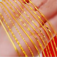 euro tabakları toptan satış-18 altın kaplama kolye 24 K euro Vietnamca kum altın zincir toptan kısa paragraf kaplama gerçek renk altın zincir klavikula zinciri