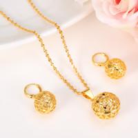 mücevher altın top seti toptan satış-Yuvarlak Top Kolye Kolye zinciri Küpe Fener setleri Takı 14 k Gerçek Sarı Ince Altın Boncuk Kolye kadınlar için setleri ÜCRETSIZ KARGO