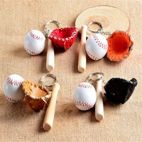 Wholesale Wholesale Wooden Baseball Bats - Ball Key Ring Baseball Gloves Wooden Bat Bag Keychains Key Chain Ring Cartoon Pendant Keychain Best Christmas Gift DHL Free