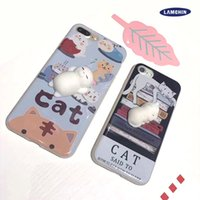 Wholesale 2017 Kawaii New D Squeeze Cat Silicon Cellphone Case for Apple iPhone iPhone Plus Squeeze Stretchy Toy Phone Cover