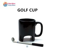 Wholesale Bone China Gifts - Wholesale- Creative Golf ceramic mug funny black coffee mug office Casual ceramic mug Golf stick pen birthday gift