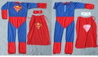 200 set DHL hot Costume Cosplay Spiderman Superman Costume di Halloween Tute Kit Bambini BAMBINO manica lunga costume da supereroe cosplay set