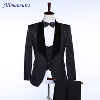 Wholesale Wedding Tuxedos Colors - Wholesale- Brand Style Prom Suits Peaked Lapel Groom Tuxedos 3 Colors Black Double Breasted Men Suits Wedding Best Man Lace Blazer