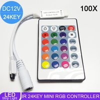 Wholesale Dimmer Ir - 100X Wholesale DC12V 24Key Mini RGB Controller IR Remote Controller With Mini Dimmer for 5050 3528 Led Strip Lights 12V free shipping