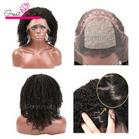 Wholesale Silk Top Human Wigs - brazilian silk base full lace wig human hair lace front wigs with baby hair silk top curly afro kinky lace wig greatremy