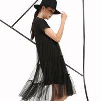 Wholesale Dot Net Chiffon - Wholesale- [soonyour] 2017 Spring Fashion New style Loose Fake two short-sleeved Lace straight dress slim Net Yarn Luscious Big size women