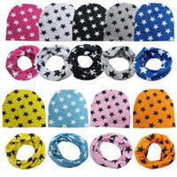 Wholesale Ear O Rings - Stars Cotton Baby Beanie Hats + O-Ring Scarf Multicolor Baby Caps Scarf Set Accessories for 0-3 Years Baby Hat + Scarf Set
