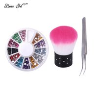 Wholesale Tweezers Designs - Wholesale- Beau Gel 3pcs lot Nail Art Brush + Makeup Tweezers + 1 Wheel Colorful Rhinestone Accessories Tool Kit for Nail Polish Design