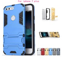 Wholesale Iphone 5g Protection Case - Iron Man Armor phone Cases 2 in 1 Support Phone protection shell Shockproof Dirt Proof For iphone 7 plus 6 plus 5G SE