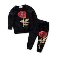 Wholesale Childrens Embroidered Clothing - Fashion Girls Childrens Clothing Sets Rose Embroidered Jumper Tops Pants 2pcs Set Spring Autumn Cotton Home Kids Clothes Outfits Wholesale