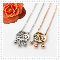 Wholesale Chinese Lock Necklace - Chinese Style Titanium Steel Hollow Longevity Lock Three Bells Gold and Silver Color Pendant Necklaces Choker for Women