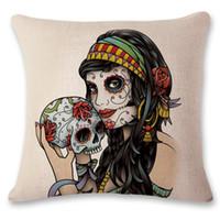 Wholesale Horror Cases - Punk Skeleton Skull Printed Halloween Horror Pumpkin Cartoon Cushion Cover Sofa Home Decor Pillow Case Cotton Polyester Sofa Chair Square