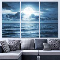 mond comic-bilder großhandel-3 Panels Leinwand Kunst Vollmond Moonlight Sea Home Decor Wandkunst Malerei Leinwand Bilder für Wohnzimmer Poster XA1134C