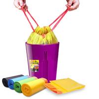 sacos de cordão grossos venda por atacado-Sacos de Lixo doméstico Colorido Com Cordão Portátil Grosso Saco de Classificação Para Casa Cozinha Cesta de Lixo Do Escritório Lata De Lixo IC557