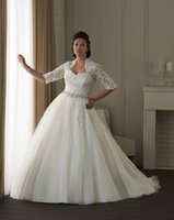 Wholesale Ball Gown 22 - New Plus Size White Ivory Bridal Gown Lace Custom Made Ball Gown Wedding Dress 16 18 20 22 24 26 28
