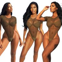 Wholesale Transparent One Piece Swimsuits - New Sexy Women Mesh See Through High Cut Bodysuit Thong One Piece Swimsuit Mesh Transparent Brazilian Swimwear