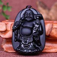 buddha handhalskette großhandel-natürliche Obsidian Stein Hand geschnitzte Buddha Charm Anhänger Halskette