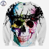 Wholesale 3d Printed Ring - Hip Hop Harajuku Skull fashion men's 3d sweatshirt printed tree head ring skull hip hop hoodies long sleeve autumn tops