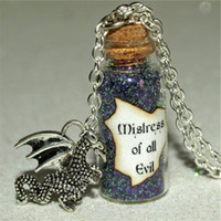 Wholesale Dragon Bottle - 12pcs Mistress of All Evil Maleficent Magical glass Bottle Necklace with a Dragon Charm Villain Inspired necklace