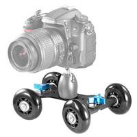 Wholesale Rig For Dslr - Tabletop Mobile Rolling Slider Dolly Car Skater Video Track Rail for Speedlite DSLR Camera Camcorder Rig Black Free Shipping