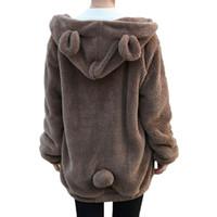 Wholesale Wholesale Soft Fleece Hoodies - Wholesale- 2017 Fashion Women Soft Lovely Bear Ear Fleece Warm Sweatshirts Long Sleeved Drop Shoulder Hooded Hoodies Casual Coat Outwear