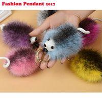 Wholesale Cartoon Car Ornaments - New Fashion Colorful Fur Pom Pom Key Chain Lovely Hedgehog Keychain Faux Fox Fur Bag Car Ornaments Key Ring gifts Wholesale