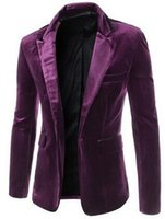 blaser giysileri toptan satış-Toptan-2016 yeni varış Moda casual blazers kadife erkek giyim takım elbise slim fit Şarap kırmızı erkek blazer blaser ceketler Siyah Mor