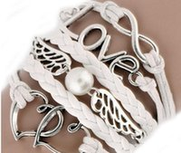 Fashion Womens Leder Multilayer Cute Infinity Liebe Herz Wings Charms Armband