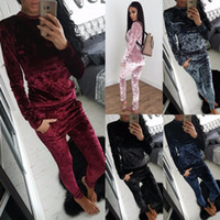 Wholesale New Style Women Outfit - 2017 New Style Winter 2 Two Piece Set velour tracksuit women clothing Set Outfit women ensemble Wool Soft velvet Hoodie and Pants Runway Set