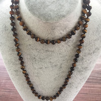 Wholesale Nature Stone MM Yellow Tiger Eye Necklace Hand Knotted Necklace Long Necklaces inch Yoga Mala Beads Endless Infinity Beaded
