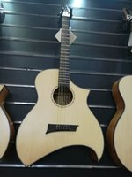 Wholesale hollow body acoustic for sale - 2017 new style Acoustic guitar special shaped Natural AAA Solid spruce top dots inlay body sapele back side Matt finish China guitars