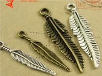 Wholesale Cheap Bulk Jewelry Charms - A4261 A4262 Cheap Zinc alloy plating ancient bronze retro tibetan Silver Feather Pendant DIY charms bulk metal jewelry accessories wholesale