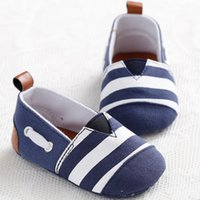 Wholesale Toddler Boy Loafer Shoes - Wholesale- 0-18 Months Newborn Baby Girl Shoes Striped Kids Toddler Crib Shoes Soft Soled First Walkers Baby Boys Sneaker Footwear Loafers