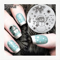 Wholesale Image Plates Christmas - Wholesale- YZWLE Flower Christmas Vintage Pattern Stamping Nail Art Image Plate 5.6cm Stainless Steel Template Polish Manicure Stencil Tool