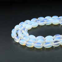 Wholesale Oval Gemstone White - 8x12mm Smooth Oval Shape Opal Stone Beads White Opal Gemstone Beads for DIY Jewelry Making 32pcs set
