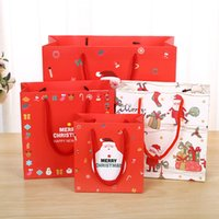 Wholesale Wholesale Christmas Crafts Supplies - Paper Gift Bags Christmas Gift Bags Fashion Santa Claus Snowman Christmas Kraft Gift Bags Festival Supplies 3 Sizes To Choose