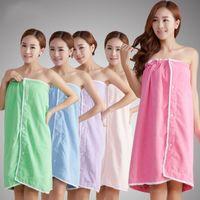 Wholesale Bathrobe Towel Woman - New Absorbent Bath Towels Microfiber Bathrobes Towel For Women Lace Edge Bath Dress 140 * 75 CM Free Size Super